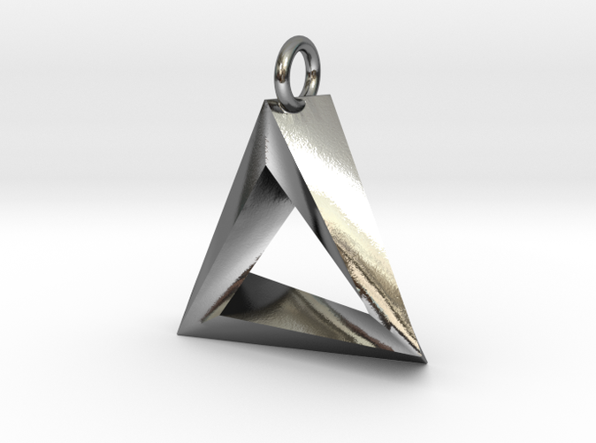 large from silver triangle pendant geometric pendants