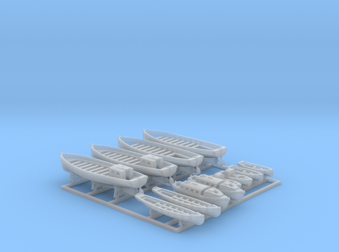 1/600 Royal Navy WW2  Boat Set 2 with Mounts