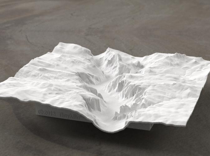 Yosemite valley model rendered in Radiance, viewed from the West, past El Capitan and toward Half Dome.