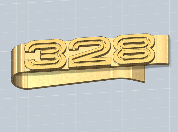 Money clip with the 328 logo, render