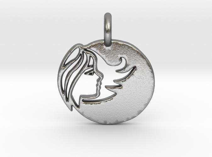 Astrology Zodiac Virgo Sign in silver is shining.