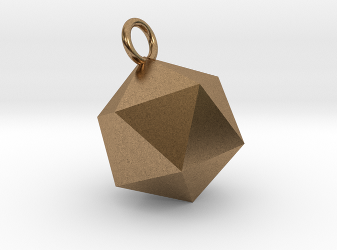 An Icosahedron Earring in brass is shining.