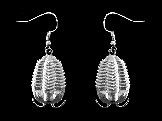 Trilobites Earrings in Raw Silver