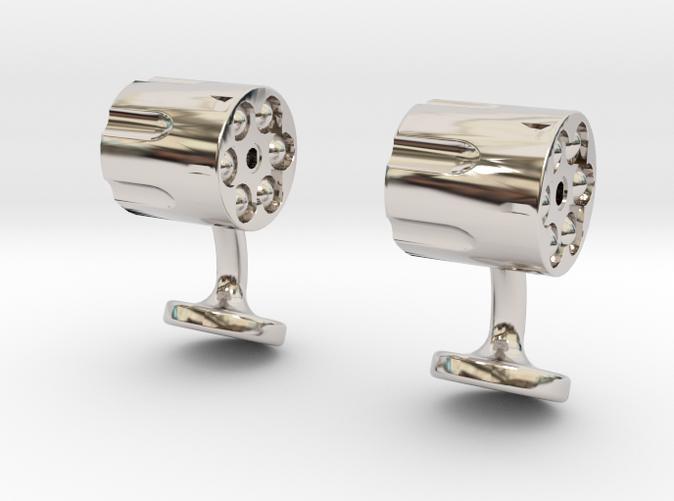 revolver cufflinks rhodium plated