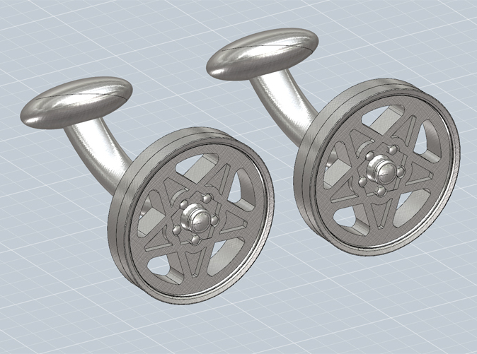 Cufflinks with the Ferrari 308 Cromodora wheel, render.