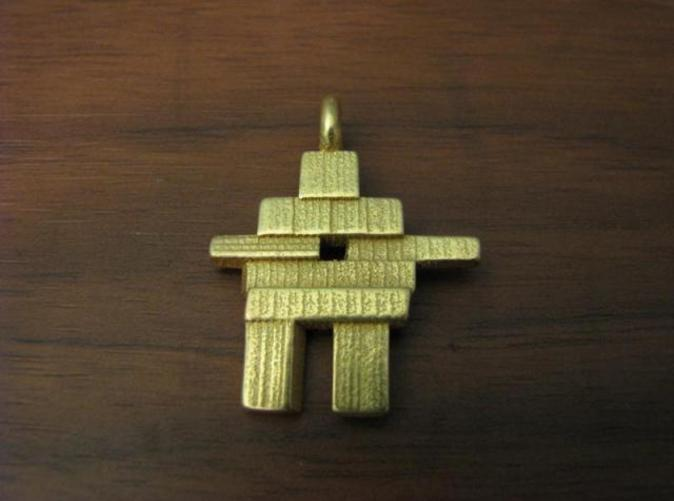 Gold Plated Glossy Inukshuk Pendant