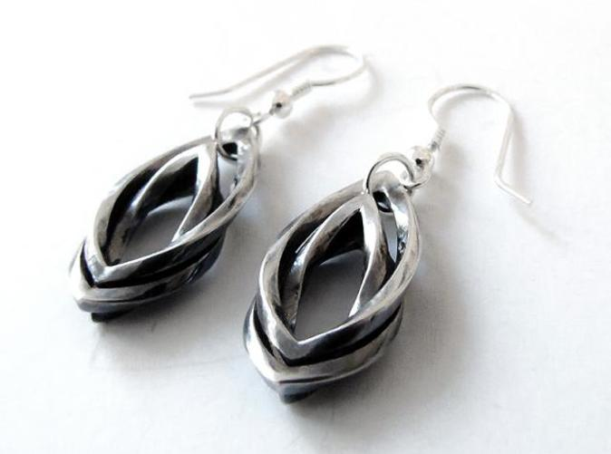 silver Leaf earrings with silver earhooks