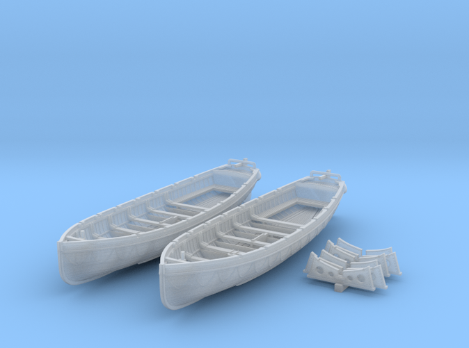 1/200 Scale Royal Navy 32ft Cutters x2