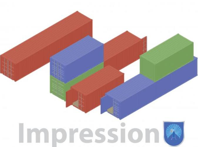 Impression of a few shipping containers (red type A) (blue and green type B)