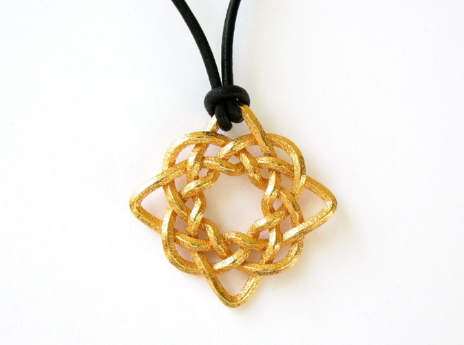 Front face of the pendant, printed in polished gold steel