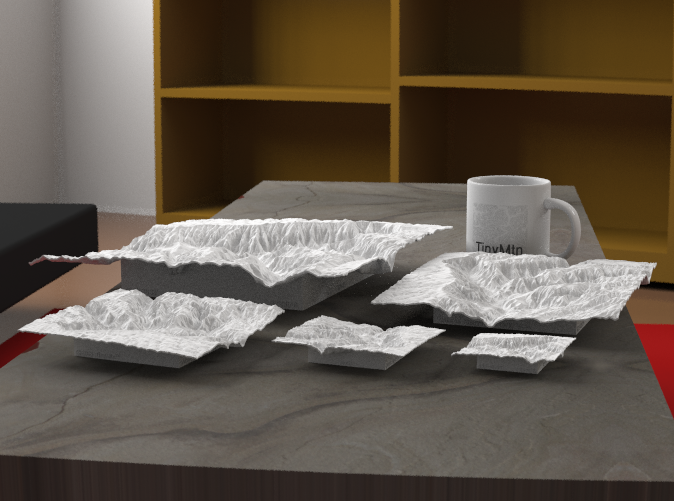 """Radiance rendering of all available sizes: 3"""", 4"""", 6"""", 8"""", 12""""."""