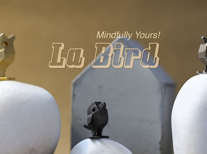 Mini sculpture and decor with hidden message . LaBird in Stainless Steel material 22mm and 30mm size compared