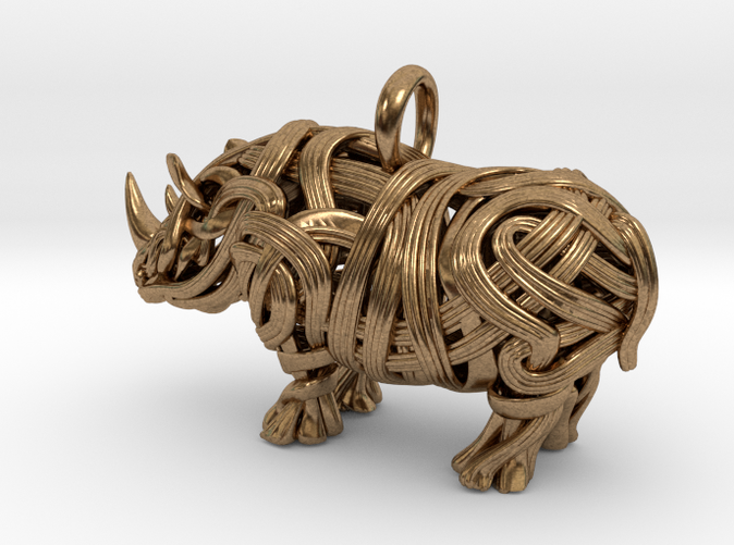 Rhino pendant 3D printed in Raw Brass