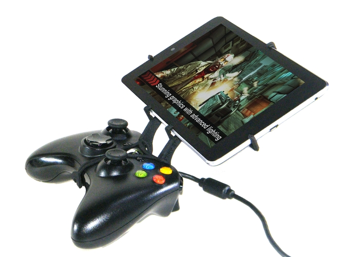 Side View - A Nexus 7 and a black Xbox 360 controller