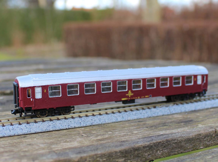 DSB class B coach N scale 3d printed Priming and paint not included, bogies and couplings must be obtained from third part, read below!