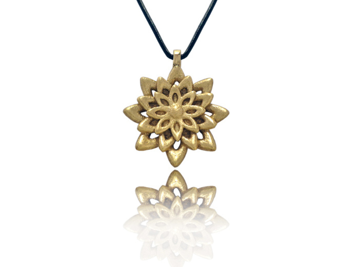 Lotus Flower Symbol Jewelry Necklace 3d printed
