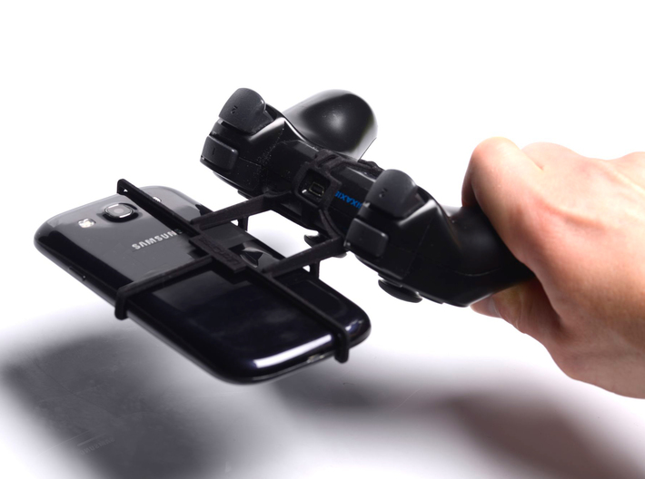 PS3 controller & Sony Xperia Z3+ dual - Front Ride 3d printed In hand - A Samsung Galaxy S3 and a black PS3 controller