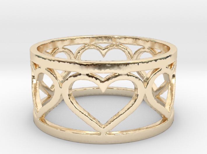 Caged Heart Ring V1 Ring Size 8 3d printed