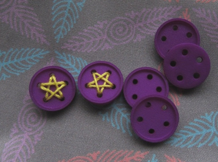 "5/8"" five-holed buttons (dozen) 3d printed star buttons printed in Violet S&F"