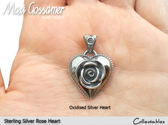 SILVER HEART ROSE 3d printed Oxidised Silver Rose Heart