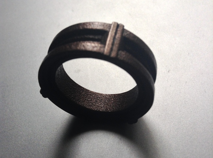 Daletox ring (Size 8) 3d printed Matte Bronze Steel