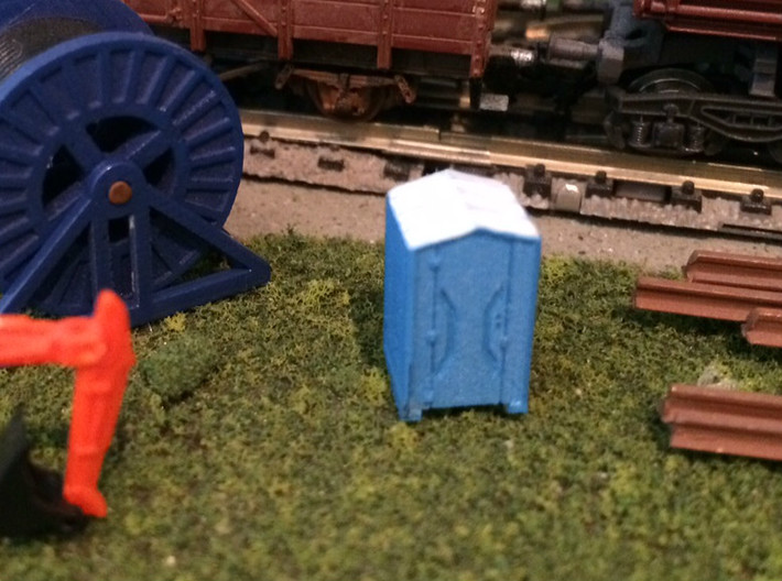 N Scale Portable Toilets 4pc 3d printed Painted version in Frosted Ultra Detail