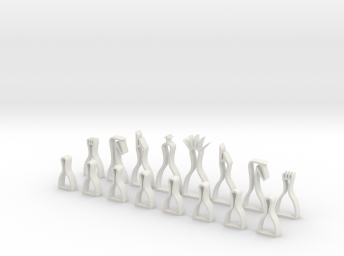 minimal hollow chess set 3d printed
