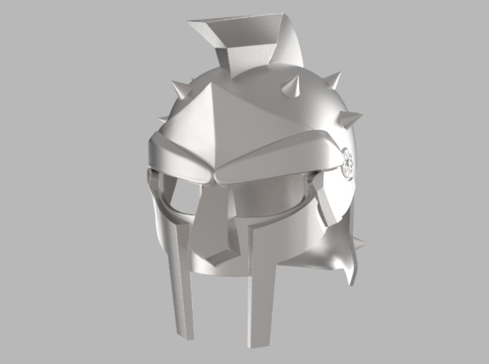 Maximus Gladiator Helmet 3d printed Rencering of the model. Scratches added for rendering purposes only. The surface is intentionally smooth, so that the owner can modify the final appearance of texture.