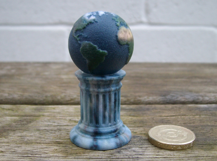 Globe-On-Pillar. A different board game counter. 3d printed