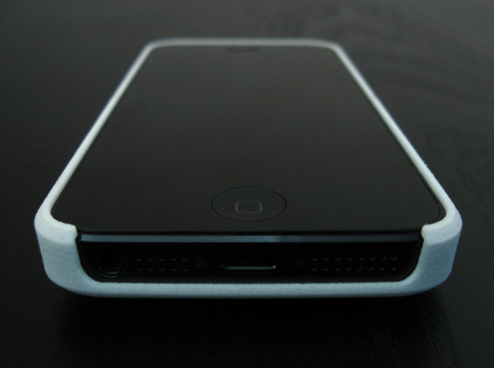 "Cariband case for iPhone 5/5s, ""holds stuff"" 3d printed White Strong & Flexible, Front and Bottom, plug openings and speaker"