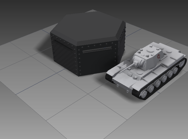 15mm Hex Bunker 3d printed A KV-1 next to the hex bunker for size comparison.