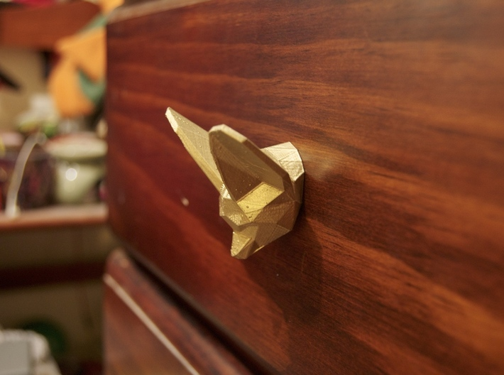 Fennec Fox Drawer Handle 3d printed Spray Painted Gold - looks awesome!