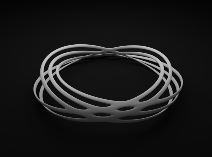 Spiral Style Bracelet 2 3d printed White Strong and Flexible Polished Render View