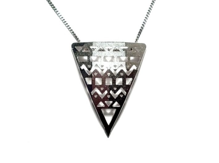 Aztec Pendant 3d printed Raw Silver