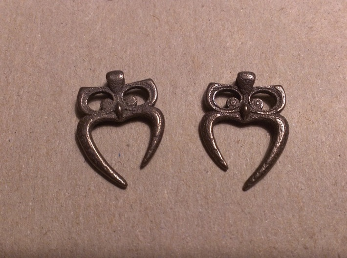 Owl Heart Earrings 3d printed Bronze Glossy