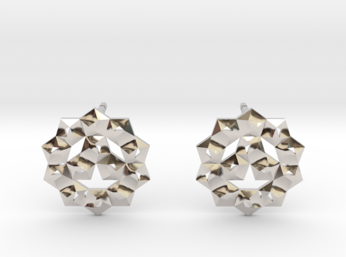 Faceted Circle Earring 3d printed