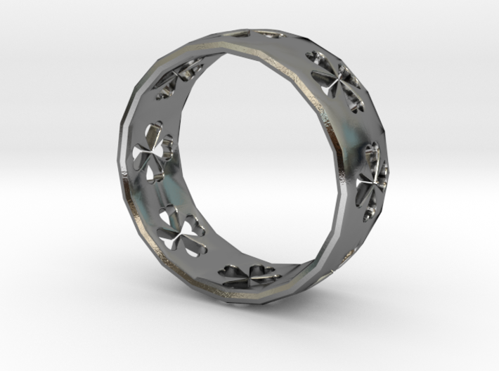 Clover Size 8 Ring 3d printed