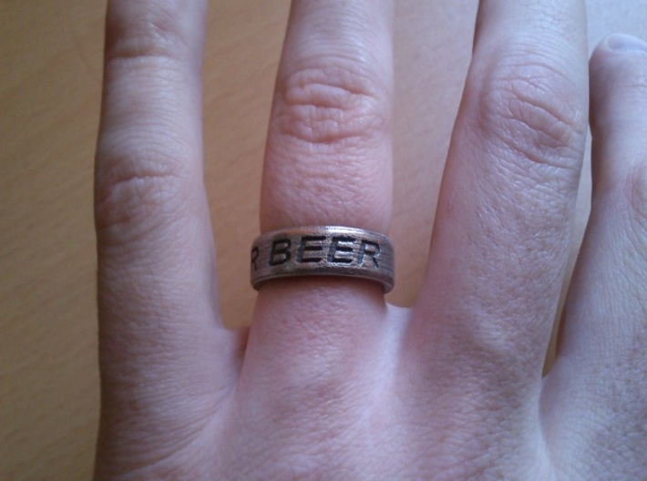 """NEED FOR BEER"" Ring 3d printed Stainless Steel"