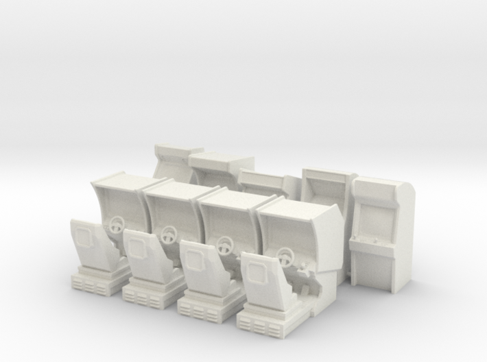 Arcade Machine Pack 5 Stand Up, 4 Driving 3d printed
