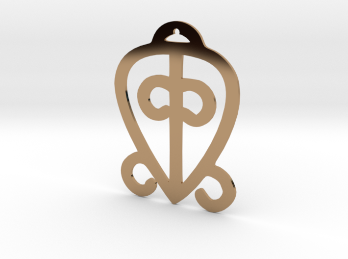 "Adinkra Collection-Power Of Love Pendant (metals) 3d printed Adinkra symbol, ""Odo nyera fie kwan"", represents the power of love and faithfulness"
