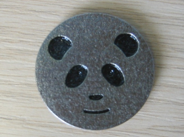 Panda coin - with no patterning 3d printed Heads side - painted recesses in 'plain' stainless steel.