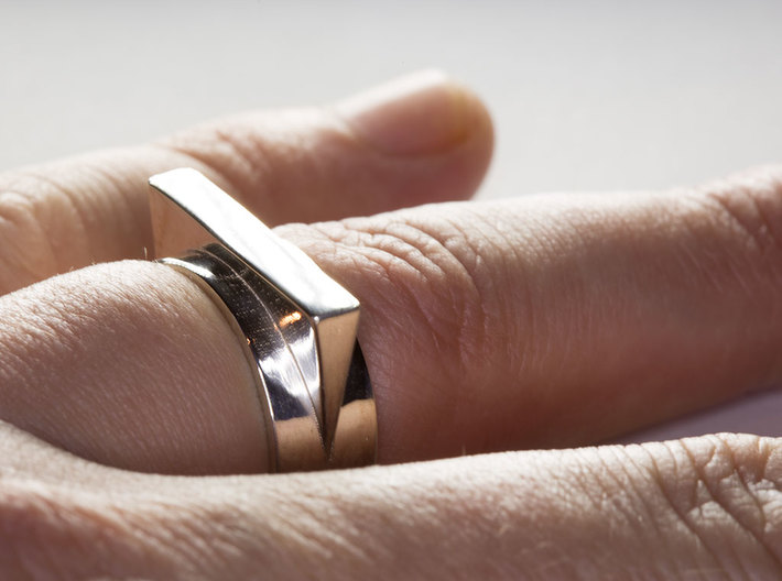 JetSet Triangle Ring, Size US8 3d printed The JetSet Triangle Ring in Polished Silver