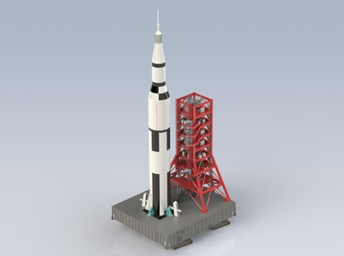 1/400 Saturn V MLP & Crawler, Apollo launch pad 3d printed