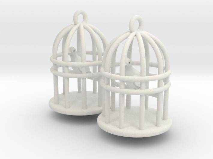 Bird Cage Earrings 3d printed