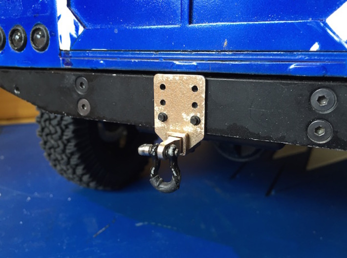 Defender Hitch Plate 3d printed Shown installed on RC4WD stock Gelande 2 bumper with optional Scale 4WD Ball & Shackle Mount.