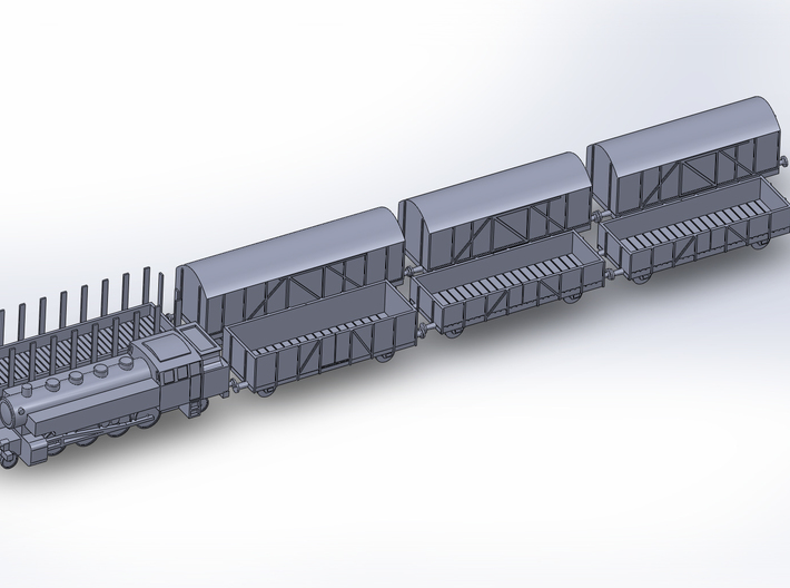 Mixed Freight Train Set 3 1/285 6mm 3d printed