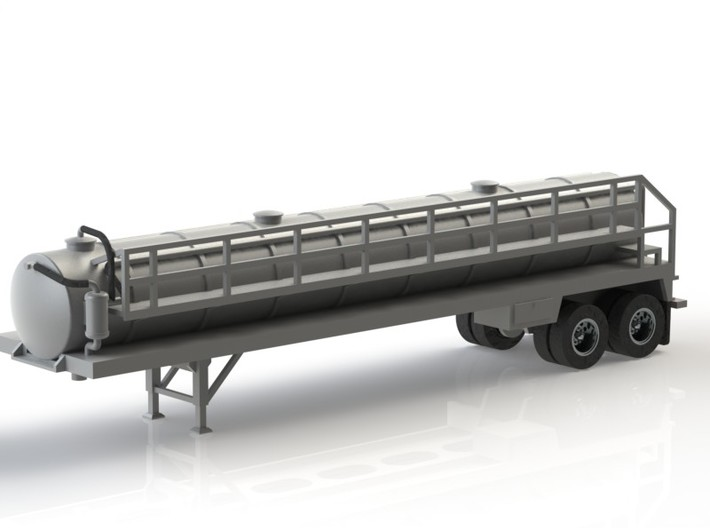 HO 1/87 Crude Oil Trailer, Troxell 130 3d printed Another CAD render showing the front end pipework & walkway.