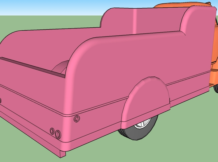 7-Up Truck w/1949 Chevy Cab Over 3d printed Parts are shown in different colors for clarity.
