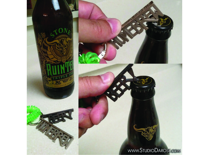 """HOMEBREW"" Bottle Opener Keychain - Customizable 3d printed Check out our other options too!"