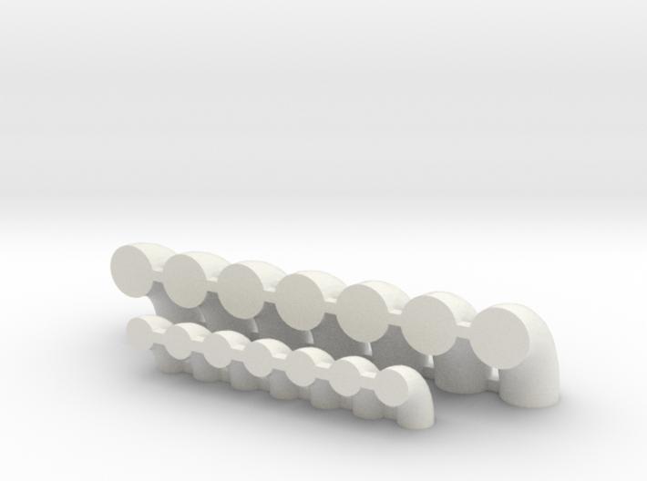 """'N Scale' - (7)20"""" & (7)12"""" Elbows 3d printed"""